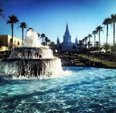 Mormon Temple - Oakland California LDS  Cool view from the fountain. You don't see that every day.