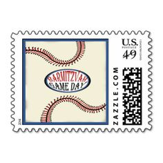 Baseball Bar Mitzvah Postage Stamps. Wanna make each letter a special delivery? Try to customize this great stamp template and put a personal touch on the envelope. Just click the image to get started!
