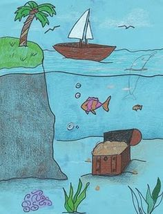Creator's Joy: Draw Sky, Surface, and Under the Sea - Piraten Classroom Art Projects, School Art Projects, Art Classroom, 2nd Grade Art, Perspective Art, Ecole Art, Drawing Projects, Sea Art, Art Lessons Elementary