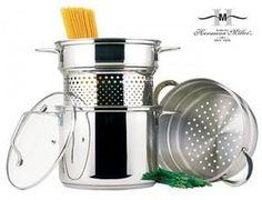 Garnek do gotowaniu makaronów, spaghetti, pierogów. Przygotujesz potrawę bez niebezpiecznego odcedzania. Do tego wkład do gotowania na parze gratis. Bardzo pomysłowe i przydatne w kuchni.