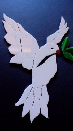 PEACE-DOVE-Precut-Stained-Glass-Art-Mosaic-Inlay-Kit-Tile-Garden-Stepping-Stone Stained Glass Projects, Stained Glass Art, Mosaic Crafts, Mosaic Art, Broken China Crafts, Remembrance Day Art, Christmas Mosaics, Peace Dove, Bird Art