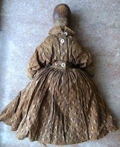 Antique Primitive Folk Art Wood Queen Anne Carved Wooden Doll N Original Clothes | eBay