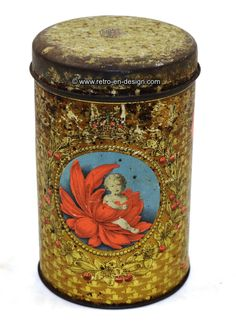 Vintage remembrance tin Dutch Royal family on the occasion of the birth of Princess Beatrix or Irene