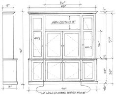 Shop drawing for built-in outdoor entertainment center for Christel Butler.  We do all these drawings by hand--no CAD in our shop.  Just a pencil and a scale ruler.
