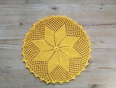 Beautiful vintage handmade yellow crochet doily - like new by SwedishHeritage on Etsy https://www.etsy.com/uk/listing/154085786/beautiful-vintage-handmade-yellow