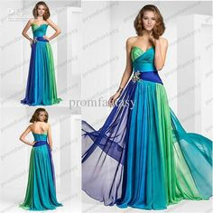 2013 Ombre Colorful Chiffon Evening Gowns Sweetheart Neckline Ruched Floor Length A-Line Custom made Formal Party Wedding Guest Dresses