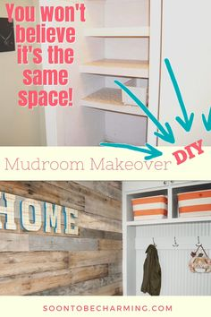 Create a mudroom with no space, yes that is exactly what we did! Creating a mudroom in a small space can be challenging, but it is sure to inspire some great mudroom entryway ideas! If you have create a mudroom on your to do list, this is for you! #createamudroom #createamudroominasmallspace #mudroomentrywayideas #createamudroomwithnospace #mudroommakeover #mudroommakeoverdiy #mudroommakeoveronabudget Entryway Ideas, Diy On A Budget, Diy Kitchen, Mudroom, Small Spaces, Easy Diy, Home Improvement, Bookcase, Diy Projects