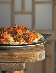 Spaghetti mit Linsen- Bolognese