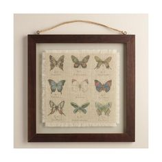 Cost Plus World Market Butterfly Linen Floated Wall Art (42 CAD) ❤ liked on Polyvore featuring home, home decor, wall art, vintage home decor, cost plus world market, vintage wall art, butterfly home decor and butterfly wall art