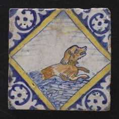Tegel: Hond met halsband in water; zwemmen