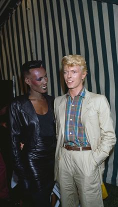 David Bowie and Grace Jones, 1983 David Bowie Fashion, Jones Fashion, David Bowie Ziggy, The Thin White Duke, Grace Jones, Ziggy Stardust, Cinema, David Jones, Female Singers