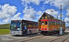 Isle of Man Tram and Bus at the Bungalow at the foot of Snaefell Mountain © Peter Killey - www.manxscenes.com