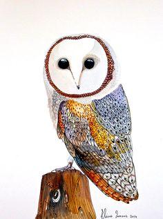 Barn Owl , Print from Original Watercolor painting, art, Room decor, Wall Art, Nursery decor, Bird Art