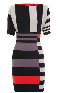 Karen Millen Striped Knit Dress Multi [#KMM130] - $86.19 :