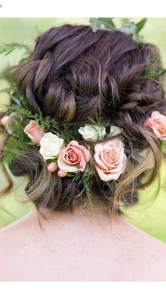 Wedding Hairstyles Updo Gorgeous loose braided updo wedding hairstyle with pink flower crown; Featured Photographer: Lieb Photographic, Via Twobirds Bridesmaid - Wedding Hairstyles Wedding Hair And Makeup, Wedding Updo, Hair Makeup, Floral Wedding Hair, Wreath Wedding Hair, Wedding Hair Roses, Whimsical Wedding Hair, Boho Wedding, Boho Makeup