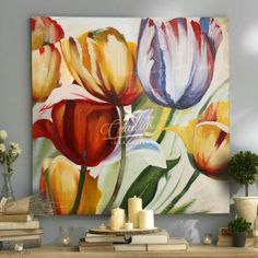 Flores Tulipanes Colores - Cuadros Decorativos Al Óleo Abstract Flowers, Watercolor Flowers, Watercolor Paintings, Floral Artwork, Art Moderne, Art Pictures, Flower Art, Canvas Wall Art, Painting Inspiration