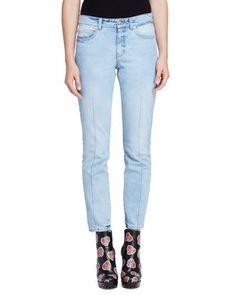 ALEXANDER MCQUEEN Bleached Denim Skinny Jeans, Light Denim. #alexandermcqueen #cloth #