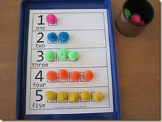 Sensory math for a little extra number practice. Can be used as an easy manipulative for addition and subtraction.