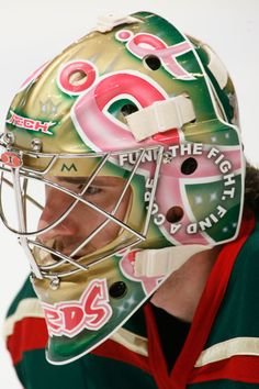 You don't often see pink on NHL goalie masks, but Josh did it for a good cause to raise awareness for breast cancer after his sister started her fight with the disease...awesome! I love this guy!