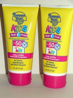 Banana Boat Kid's Sunblock Lotion Tear Free Spf 50, 6-Ounce Units (Pack of 2) by Banana Boat. $9.83. Waterproof, hypoallergenic, fragrance-free.. Skin cancer foundation recommended as an effective UV sunscreen.. Contains titanium dioxide, recommended for childrens sensitive skin.. Tear-free hypoallergenic protection for active kids.. As mild as water to skin. Retains SPF up to 80 minutes.. Formulated with an SPF of 50, pediatrician-tested Banana Boat Kids Sunblock Tea...