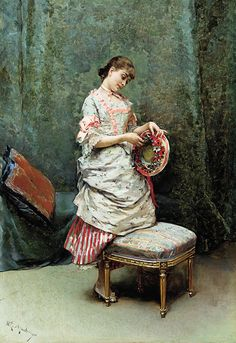 Artist's wife -via The Athenaeum - Aline holding a hat (Raimundo de Madrazo y Garreta - No dates listed)