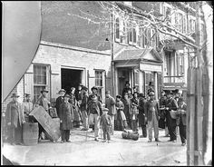Maimed Soldiers and Others before Office of U.S. Christian Commission - Washington, D.C., April 1865