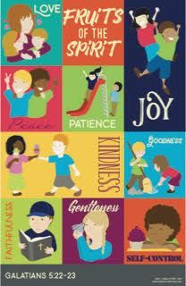 """Fruit of the Spirit Poster for Kids, Wall Chart - 11"""" x 17""""  Each fruit of the spirit has an image to go with it making it kid-friendly and easy to understand. Perfect for Sunday School, Homeschool, Bible Lessons, &  Children's room décor. Buy one today at www.biblestorymap.com"""