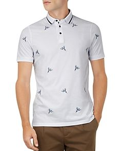 43e23ff1654bf TED BAKER HAPNES BIRD-EMBROIDERED REGULAR FIT POLO.  tedbaker  cloth