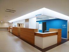札幌勤医協中央病院 Healthcare Architecture, Hospital Architecture, Healthcare Design, Medical Office Interior, Hospital Signage, Reception Desk Design, Nurses Station, Hospital Design, Clinic Design