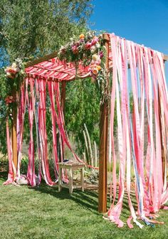 Colorful ribbon wedding arch arch cross 60 Ways to Use Ribbon in Your Wedding Decor Wedding Ceremony Ideas, Wedding Altars, Ceremony Decorations, Diy Wedding, Ribbon Wedding, Arch Wedding, Wedding Blog, Arch Decoration, Wedding Canopy