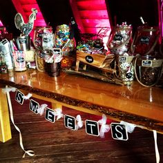 Bride Laura set up this decadent candy bar for her guests at the Barn! Yumm!