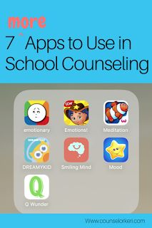 7 MORE Apps to Use in School Counseling: these free apps are great for leading meditation, promoting mindfulness, doing feelings check in/check out to promote emotional intelligence, building life skills, and expanding emotional vocabulary!