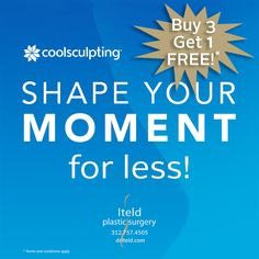 REMINDER: Now you can shape your moment for less❗ Buy 3️⃣ CoolSculpting cycles and get 1️⃣ free cycle. HURRY❗ ❗ Only two weeks left❗ Offer ends 10/31/20 〰️〰️〰️〰️〰️〰️ 📱Call us today to set up a consultation 312.757.4505! 〰️〰️〰️〰️〰️ Terms and conditions apply. Plastic Surgery Procedures, Free Shapes, Cool Sculpting, Conditioner, How To Apply, In This Moment, App