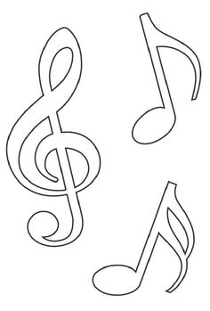 Applique Templates, Applique Patterns, Print Templates, Stencil Templates, Templates Free, Stencils, Music Drawings, Music Crafts, Notes Template