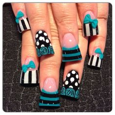 Teal mix by Oli123 - Nail Art Gallery nailartgallery.nailsmag.com by Nails Magazine www.nailsmag.com #nailart