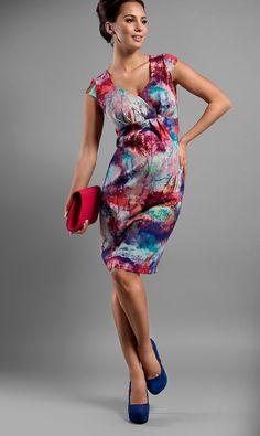 6812812acfa Vzorované těhotenské šaty na oslavu růžové barvy Tehotenská Móda