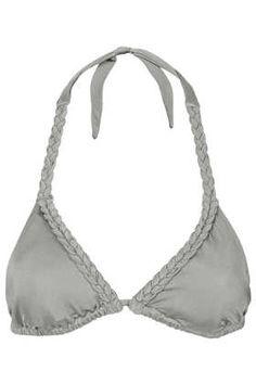 Grey Plait Triangle Bikini Top