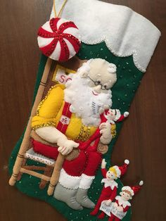 "Bucilla "" Santa and Scout Elf"" Felt Christmas Stocking Felt Christmas Stockings, Felt Stocking, Christmas Elf, Christmas Crafts, Christmas Decorations, Holiday Decor, Vive Le Vent, Fabric Dolls, Felt Crafts"