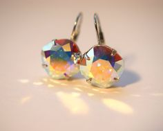 Swarovski Crystal Earrings - Sabika Inspired  - Aurora Borealis  -  12mm  Cushion Cut Stones