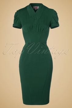 Miss Candyfloss - 40s Germaine Lee Pencil Dress in Emerald Green