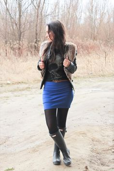 Rubber boots Wellies blue skirt outfit