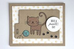 handmade greeting card ... kraft ...  paper pieced cat on folder die cut labeled MEOW ... cute paw print trail and design on bottom card layer ... adorable! ... Paper Trey Ink