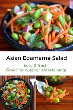 Easy to make Asian Edamame Salad is light and healthy. Makes a great lunch or side! Perfect for BBQ season, holds up well in the heat. Entree Recipes, Veggie Recipes, Baby Food Recipes, Salad Recipes, Kid Recipes, Yummy Recipes, Chicken Recipes, Picky Toddler Meals, Toddler Dinners