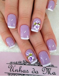 Pin de maria en uñas purple nail designs, nails y wedding na Birthday Nail Designs, Birthday Nails, Birthday Design, Purple Nail Designs, Nail Art Designs, Nails Design, Trendy Nails, Cute Nails, Light Purple Nails
