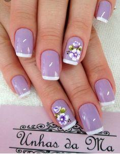 Pin de maria en uñas purple nail designs, nails y wedding na Birthday Nail Designs, Birthday Nails, Birthday Design, Purple Nail Designs, Nail Art Designs, Nails Design, Nail Designs For Spring, Trendy Nails, Cute Nails