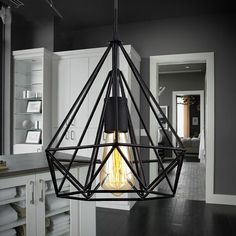 TRIANGLE CAGE WROUGHT IRON CHANDELIERS CEILING FIXTURES PENDANT LAMP LIGHTS #Unbranded #Modern