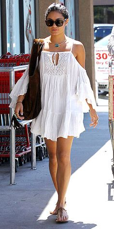 VANESSA HUDGENS While you probably don't want to show up to work in this hippie version of the LWD, Vanessa's flowy, linen dress is perfect for a day by the pool or an afternoon BBQ, especially when teamed with a brown suede bag, funky sandals (hers are Cocobelle) and turquoise jewels.
