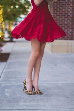 Red Lace Dress & Leopard Pumps #nordstrom