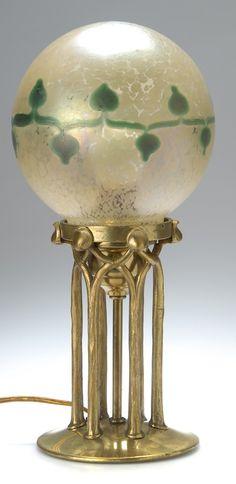 Loetz Table Lamp, c. 1901, brass base unmarked   SOLD $2,700 Germany 2009