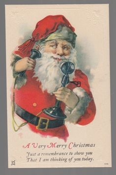 30079 Old Christmas Postcard Santa Claus with Early Telephone   eBay